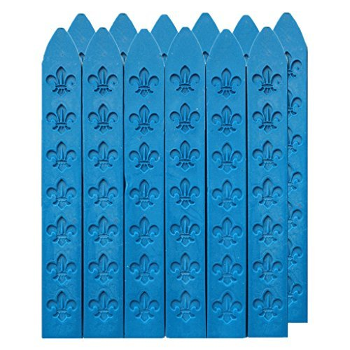 UNIQOOO Arts & Crafts Pack of 12 Matt Blue Sealing Wax Sticks for Wax Seal Stamp (Non-Wick),Great for Embellishment of Cards Envelopes, Wedding Invitations, Wine Packages (Aqua And Brown Wedding Invitations)