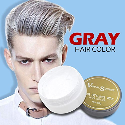 Hongxin Professional Men And Women One-Time DIY Hair Color Healthy Wax Dye Molding Paste Styling Hair Color Cream Grandma Hair Ash Dye Gray Mud Temporary 80g (gray)