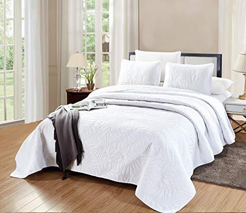 (GrandLinen 3-Piece Bedding Savannah Quilt Set Solid White (California) Cal King Size 118