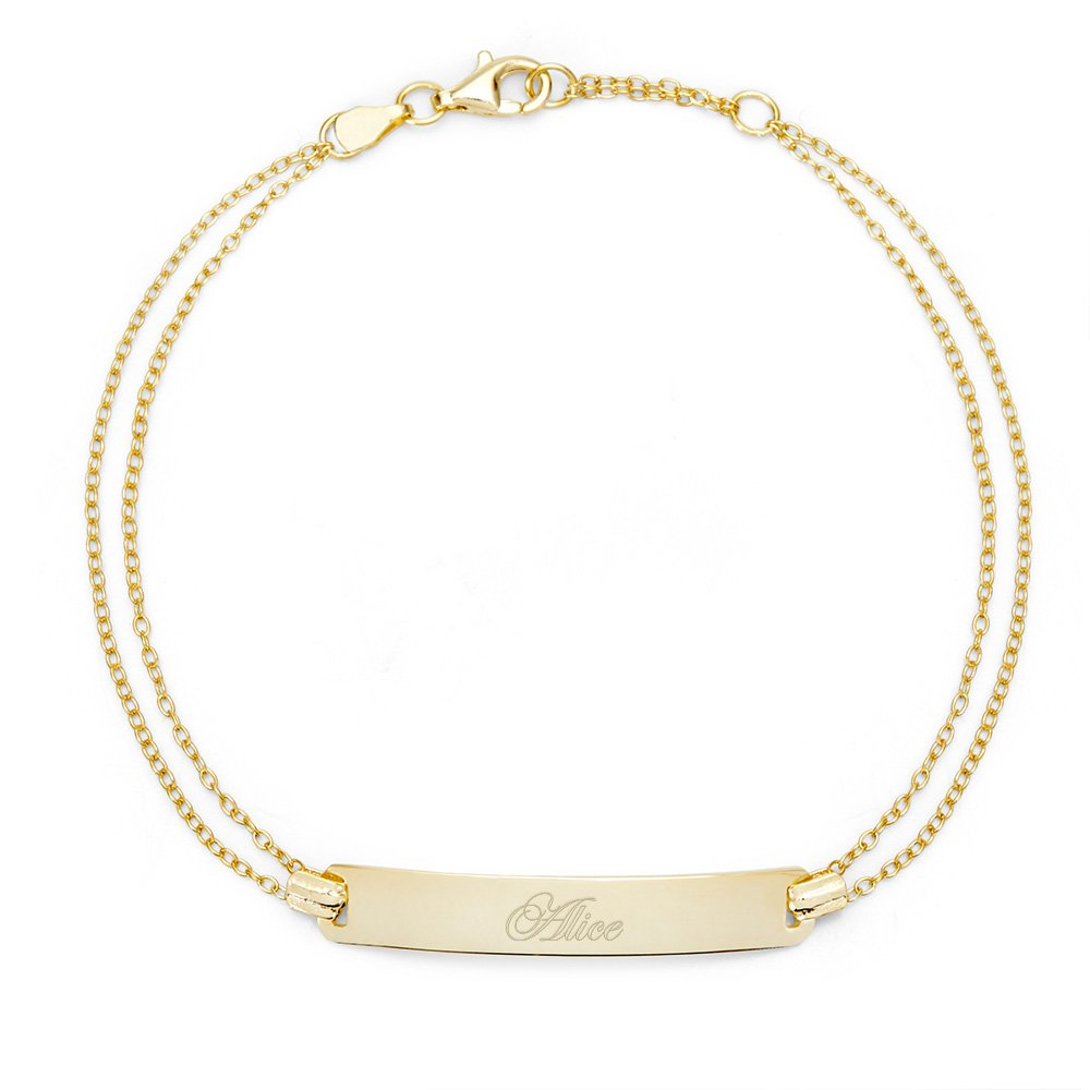 Engravable Gold PLated Name Bar Bracelet, 7.5 inches