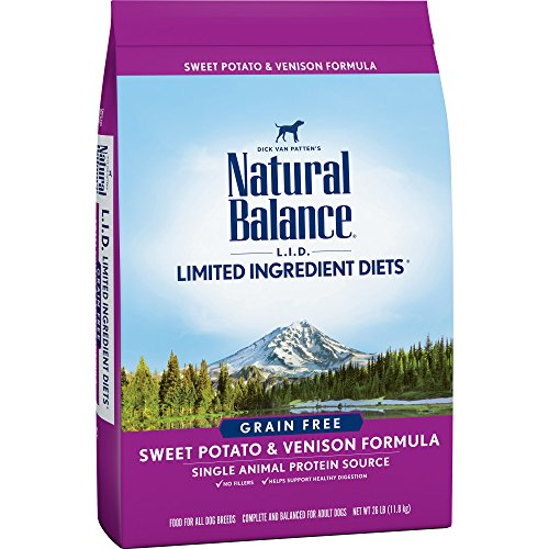 (Natural Balance L.I.D. Limited Ingredient Diets Dry Dog Food, Grain Free, Sweet Potato & Venison Formula, 26-Pound)