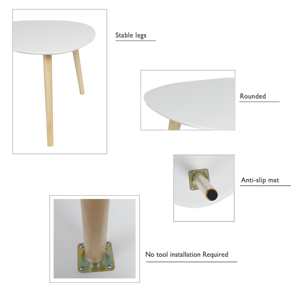 Grigio-L40 x W40 x H40 cm Happy Home Products Tavolino con i Piedini di Legno Moderno Tavolino Decorativo per Soggiorno Balcone e Ufficio