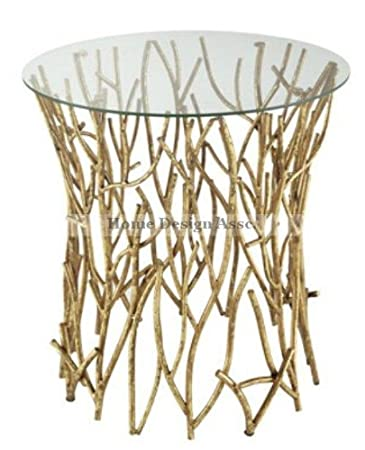 Marvelous Amazon.com: Glass Top Iron Twig Accent Table Gold Branch Elm Modern: Home U0026  Kitchen