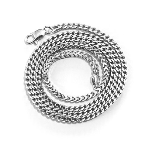 Men's Solid Sterling Silver Rhodium Plated 4mm Franco Chain Necklace, 22'' by Beauniq
