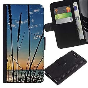 Billetera de Cuero Caso Titular de la tarjeta Carcasa Funda para Sony Xperia Z1 Compact D5503 / Nature Crops Beach / STRONG