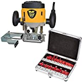 Wolf 1200 Watt Plunge Router with Variable Speed Plus 15 Piece Router...
