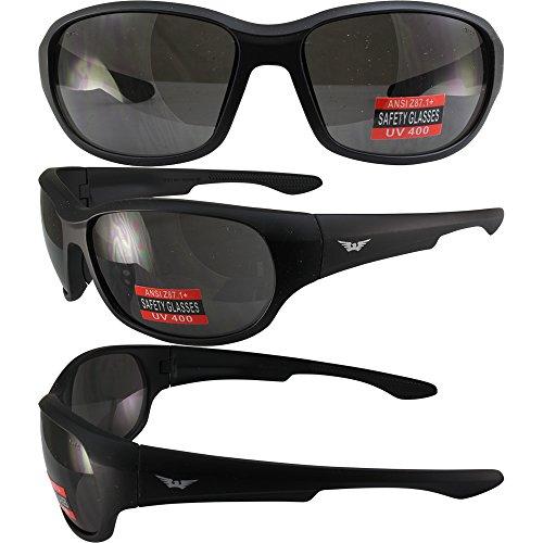 Global Vision Sunsation 4 Motorcycle Safety Sunglasses Matte Black Frames Smoke Lens ANSI - Sunglass Sunsation