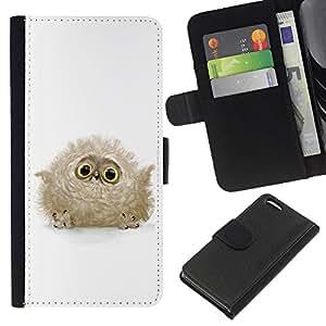 KLONGSHOP // Tirón de la caja Cartera de cuero con ranuras para tarjetas - Búho lindo del bebé - Apple Iphone 5C //