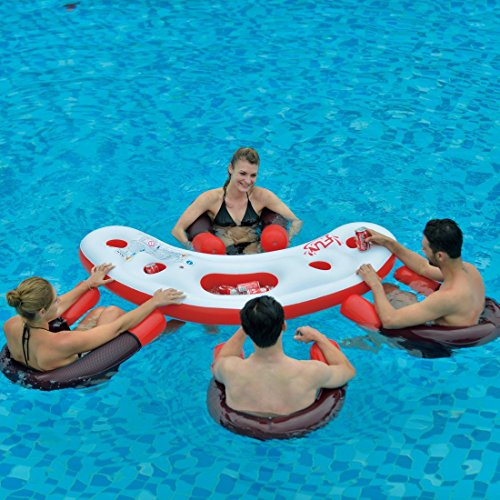 Floating Swimming Pool Water Bar with Four (4) Noodle Chairs
