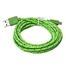 Mapletop 3M/10FT Hemp Rope Micro USB Charger Sync Data Cable Cord for Cell Phone (Light Green)