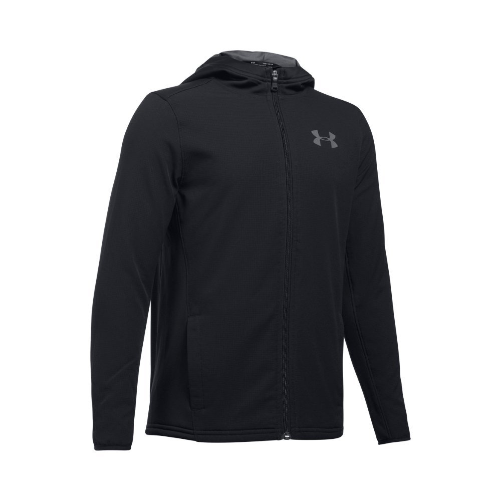 Under Armour Boys' Construkt ColdGear Reactor Hoodie,Black (001)/Graphite, Youth Large