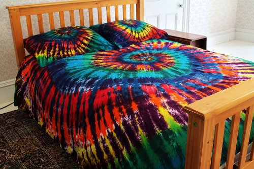 - Extreme Rainbow Tie-Dye - 100% Cotton Duvet Cover Set by Brightside - Full/Queen