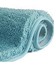 FCSDETAIL Antypoślizgowy dywanik łazienkowy z wysokim runem 50 x 80 cm, mata łazienkowa nadająca się do prania w pralce, mata łazienkowa z pochłaniającą wodę, miękkie mikrowłókna do wanny, prysznica i łazienki (turkusowa)