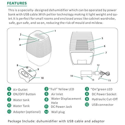 [해외]제습기, oobest 홈 지하실을위한 소형 제습기 침실 욕실 옷장, 차고 휴대용 쁘띠 제습기 컴팩트 한 수분 흡수기/Dehumidifier, oobest Mini Dehumidifier for Home Basement