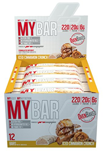Pro Supps MYBAR Delicious Oven Baked Protein Bar (Iced Cinnamon Crunch), 20g Protein, Only 6g Sugar, Gluten-free, No Trans Fat, Healthy on-the-go Snack. 12 Count, Net WT 1.94 ounces