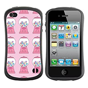 LASTONE PHONE CASE / Suave Silicona Caso Carcasa de Caucho Funda para Apple Iphone 4 / 4S / Candy Bubble Gum Machine Pink Pattern