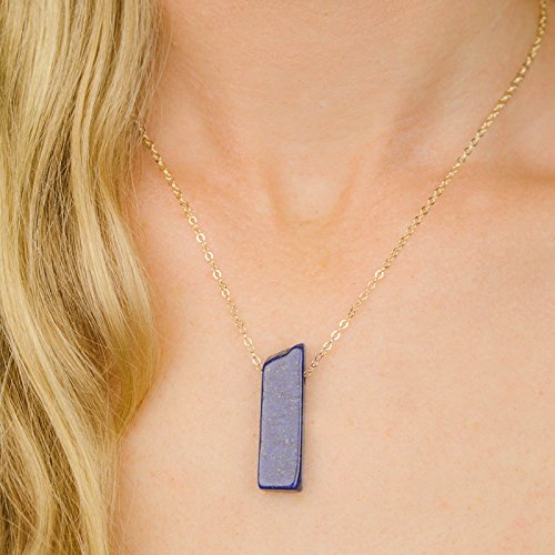 (Small slab lapis lazuli crystal necklace in 14k gold fill - 16