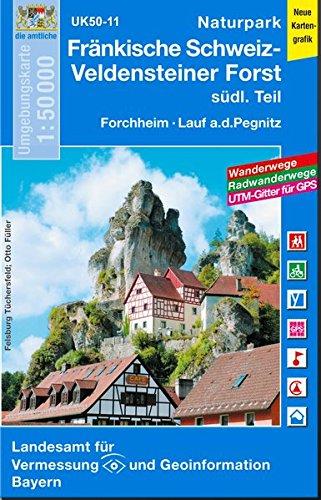 UK50-11 Naturpark Fränkische Schweiz-Veldensteiner Forst, südl.Teil: Forchheim, Lauf a.d.Pegnitz, Veldenstein, Hersbruck, Ebermannstadt, Waischenfeld, ... Karte Freizeitkarte Wanderkarte)