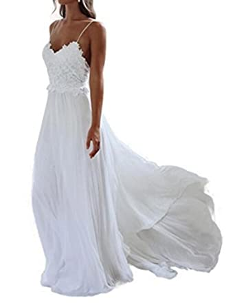 Formaldresses Spaghetti Straps Beach Lace Wedding Dress Plus Size