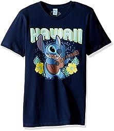 Disney Men\'s Hawaii Guitar Play Crew Tee, Navy, LARGE