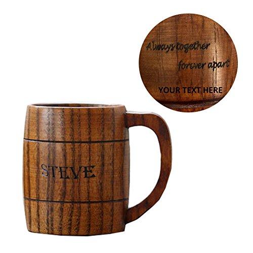 (SCOFEEL LIFE Groomsmen Gifts Idea Personalized Wooden Beer Mug Wedding Gift for Ushers Customized Monogram Beer Stein Wood Jug Tankard Couple Custom Name)