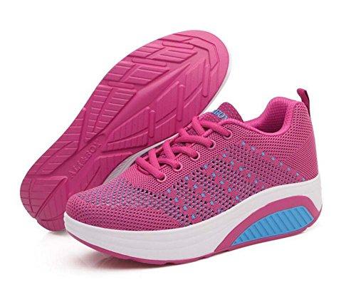 SHINIK Zapatillas Casual para mujeres Zapatos deportivos respirables de verano Zapatos de malla con balanceo Zapatos de suela gruesa Talla 35-40 Rosado