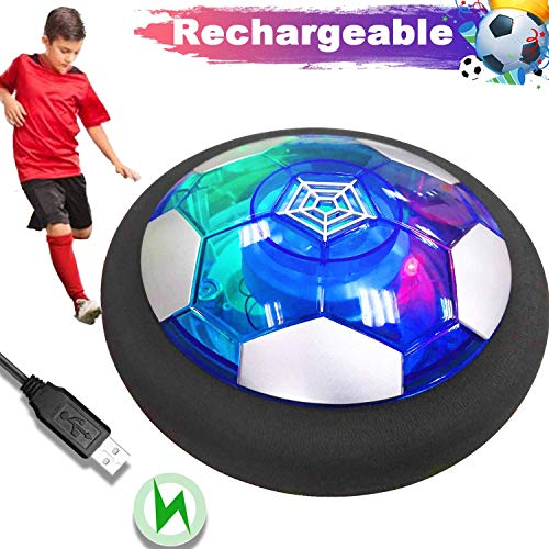 2019 New Conception Hover Soccer Ball Toy, Recharge Air Soccer Toy with Colorful Led Light & Foam Bumper Hovering Soccer Ball for Boys Girls Gifts Indoor Outdoor Sports Ball Game Excellent Time Killer