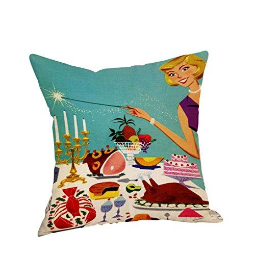 (Square Pillow Covers, Kimloog Happy Thanksgiving Turkey Pumpkin Pie Linen Pillowcases Sofa Car Cushion Covers (17.7x17.7