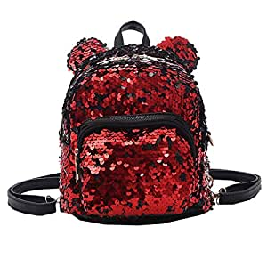 Wultia - Backpack Fashion Lady Cartoon Sequins School Backpack Travel Satchel Girls Student Panelled Zipper Backpack Mochila Red