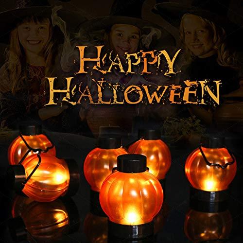 MiMiey Halloween-Laterne Kürbis-Laterne, 6PC Kürbis-Licht mit Griff, für Kinder, beleuchtetes Spielzeug für Halloween, Party-Requisiten, Geschenk, Dekoration (Orange, 6PC)