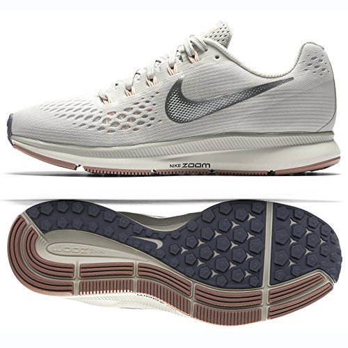 Nike WMNS Air Zoom Pegasus 34 880560-004 Light Bone/Chrome/Pale Grey Women's Running Shoes (6) (Nike Zoom Kobe 6)