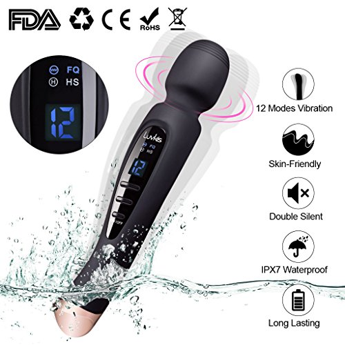 Cordless Wand Massager with 12 Speed USB Rechargeable Strong Power Vibration, Luvkis Multi Patterns Hand-held Waterproof Body Massager for Back & Neck-Black -
