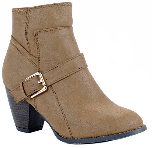 - Top Moda Women's Scan-38 Khaki Mid-Heel Boots 10 D(M) US