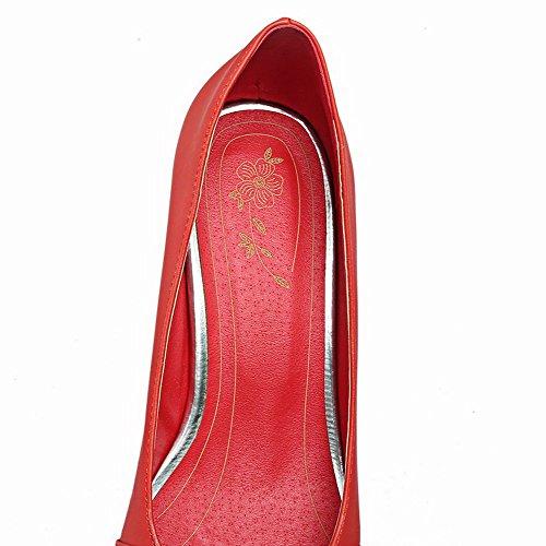 AllhqFashion Damen Ziehen auf Rund Zehe Mittler Absatz PU Leder Pumps Schuhe Rot