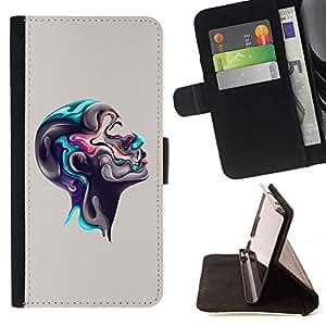 For Motorola Moto E ( 1st Generation ) Case , Colorido Cabeza abstracta- la tarjeta de Crédito Slots PU Funda de cuero Monedero caso cubierta de piel
