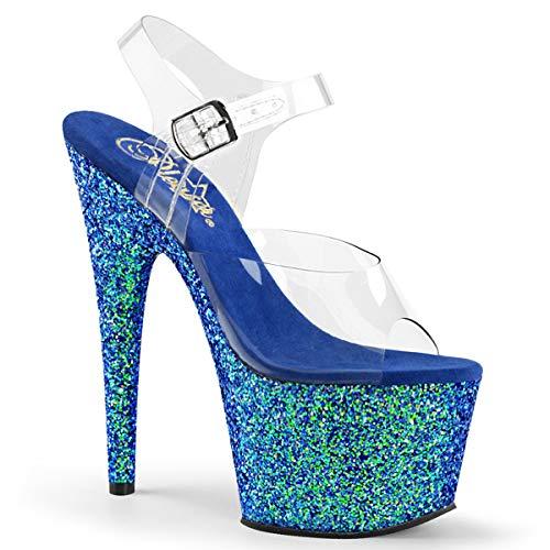 Pleaser Women's ADORE-708LG Sandal, clr/Blue Holo Glitter, 5 M - Dancer High Platform Heel