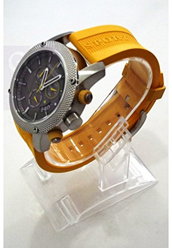 B u r b e r r y Sport Chronograph Black Dial Yellow Rubber Mens Watch BU7712 by BURBERRY