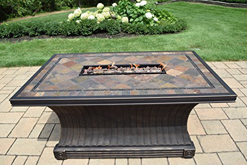 Oakland Living Rectangular Slate Topped Vienna Gas Firepit Table, Antique Bronze