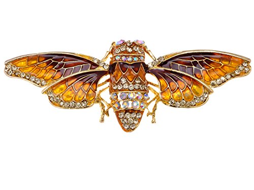 Alilang Golden Tone Iridescent Crystal Colored Rhinestone Insect Moth Brooch Pin
