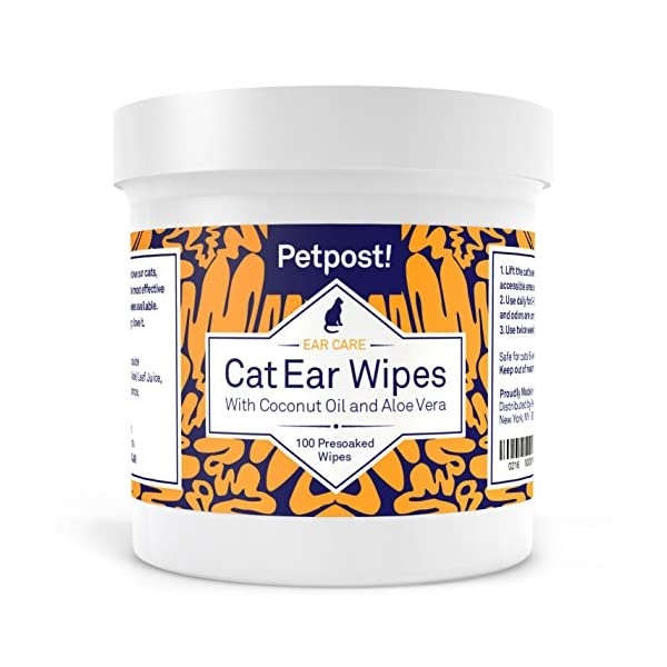 Petpost | Dog and Cat Ear Cleaner Wipes - 100 Ultra Soft Cotton Pads in Coconut Oil Solution - Treatment for Pet Ear Mites & Pet Ear Infections 1