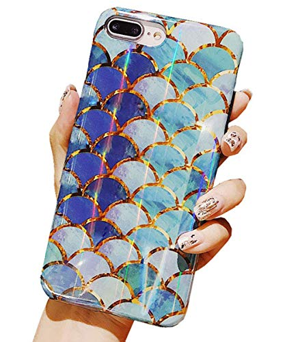 J.west for iPhone 7 Plus Case,iPhone 8 Plus Case,Flashing Shiny Holographic Mermaid Scale Pattern Soft TPU Silicone Raised Edge Back Cover Shock Absorption Protective Case for iPhone 5.5 7 Plus/8 Plus