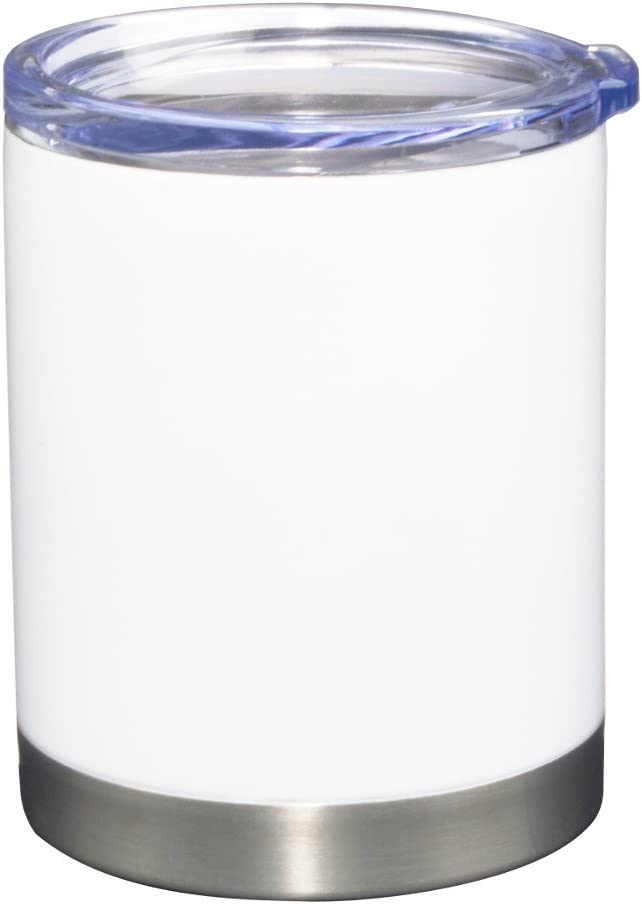 """Pro12: Double Wall Stainless Steel, Vacuum Insulated, Condensation Free""""Cooler-Style"""", Drink Through, Clear Acrylic Lid"""