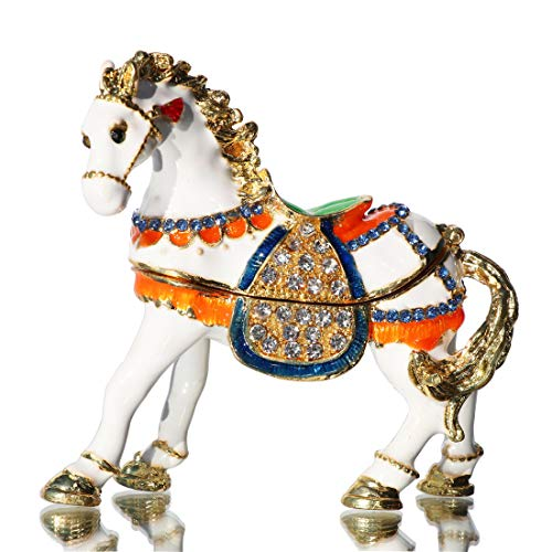 Waltz&F Hinged Trinket Box Bejeweled Hand-Painted Ring Holder Animal Figurine Collectible War-Horse