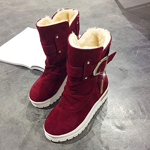 Amazon.com: Lannmart Fashion Platform Women Winter Snow Boots Suede Thicken Warm Plush Botines Mujer 2018 Slip On Ankle Boots Black Red Botas: Kitchen & ...