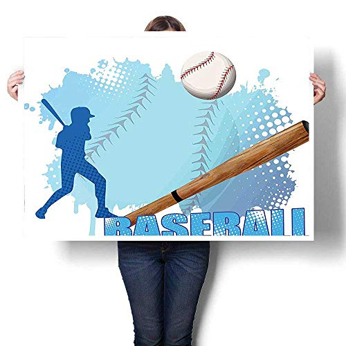 SCOCICI1588 Canvas Prints Wall Art,Silhouette of A Baseball Player with Basic Game Icons Kicking with Bat Sports Oils,Colorful Paintings for Bathroom Home Decorations,32