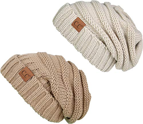 H-6100-2-1360 Oversized Beanie Bundle - Camel & Beige (2 - Beige Hat Crocheted