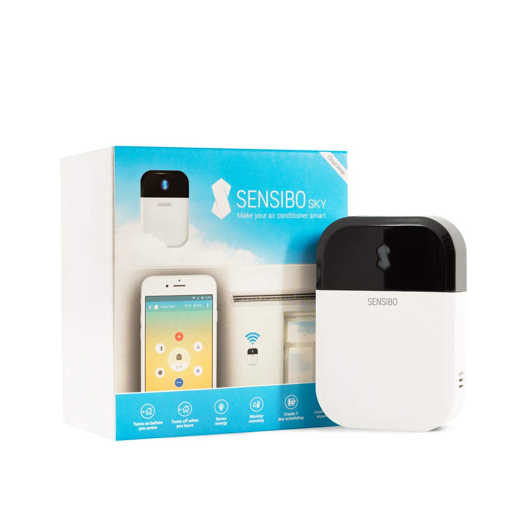 Sensibo Sky Smart Air Conditioner Controller   WiFi Thermometer Monitoring Provides Smart AC Control   Compatible with Amazon Alexa, Google Home, iOS and Android   Control Temperature From Anywhere