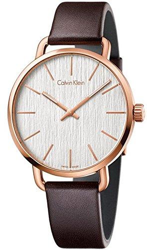 Calvin Klein Even Brown Leather Strap Silver Dial Ladies Watch K7B216G6