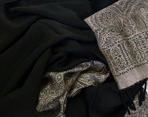 Large Silk Wool Jamavar Shawl Black-on-Black & Gold Reversible Paisley Pashmina