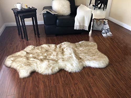 Super Soft Faux Sheepskin Free Shape Silky Shag Rug (Single and a Half 2'x4', White with Brown Tips) (Rug Super White Soft)